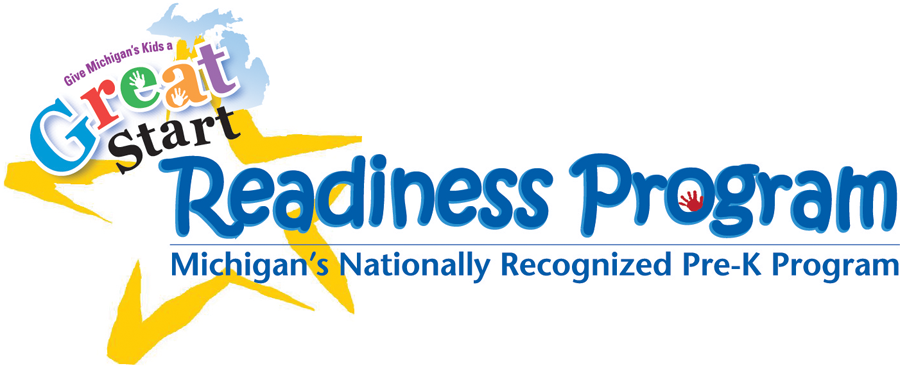 Great Start Readiness Program Logo- Michigan's nationally recognized Pre-K program